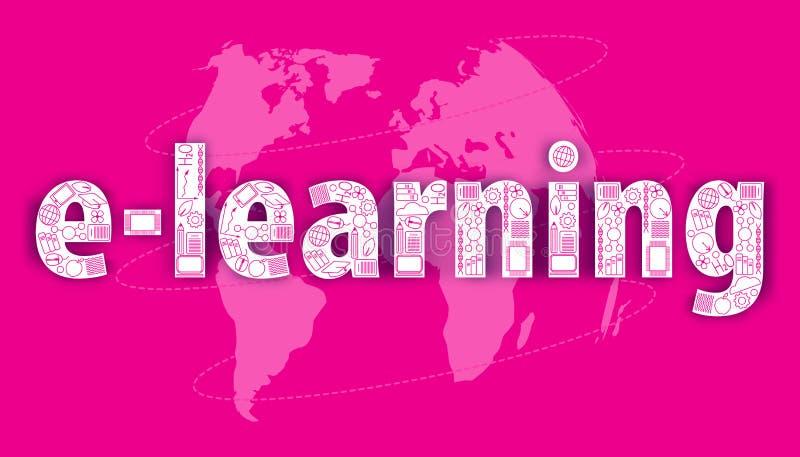 Концепция удаленный учить Обучение по Интернетуу построенное от онлайн значков образования на пинке Карта предпосылки мира иллюстрация вектора