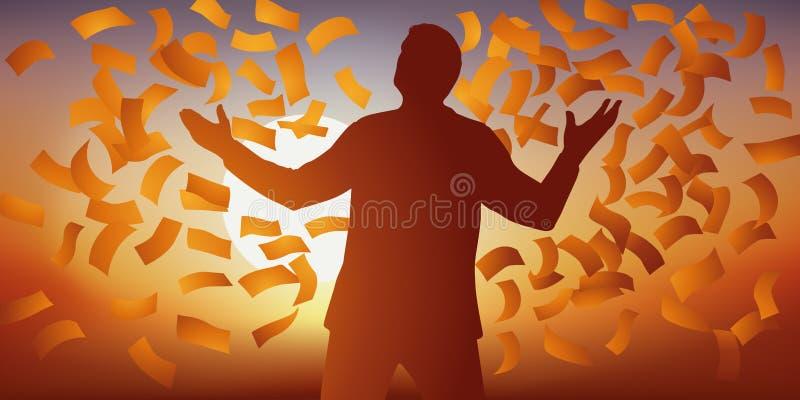 Концепция удачи с человеком который наслаждается его счастьем, под дождем банкнот иллюстрация штока