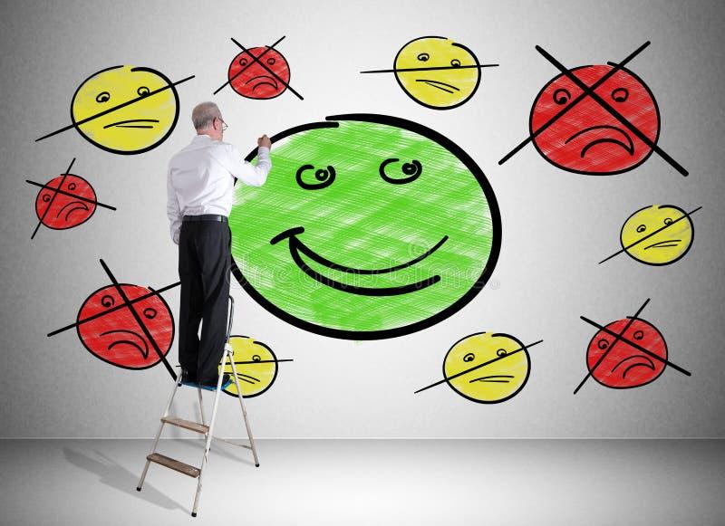 Концепция удовлетворения клиента нарисованная человеком на лестнице стоковые изображения rf