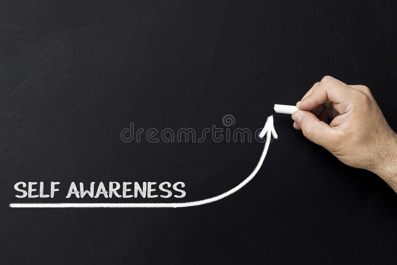 концепция улучшения Само-осведомленности Линия притяжки бизнесмена ускоряя ход улучшать само-осведомленность стоковое фото rf