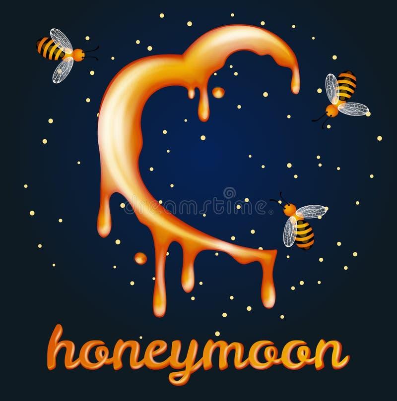 Концепция луны меда. Heartshaped полумесяц сделанный из меда иллюстрация штока