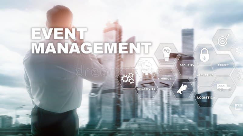 Концепция управления события Схема технологического процесса управления события Управление события связало детали Дело мультимеди стоковое изображение
