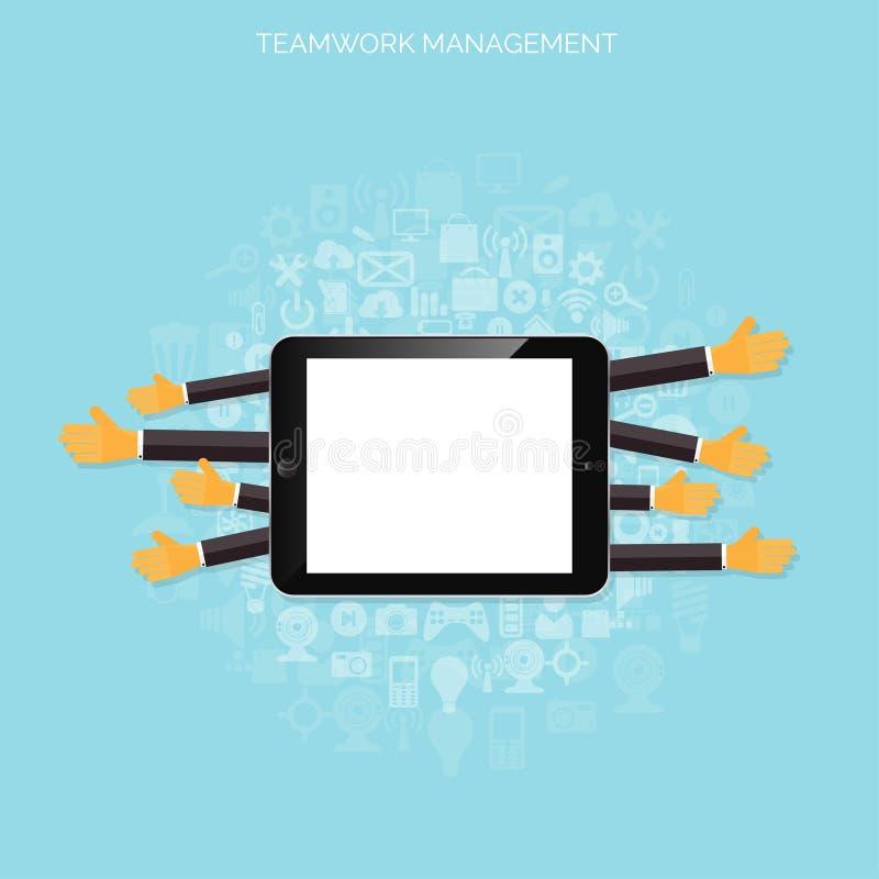 Концепция управления сыгранности Плоские значки Глобальная связь и трудовой стаж Дело, организация брифинга бесплатная иллюстрация