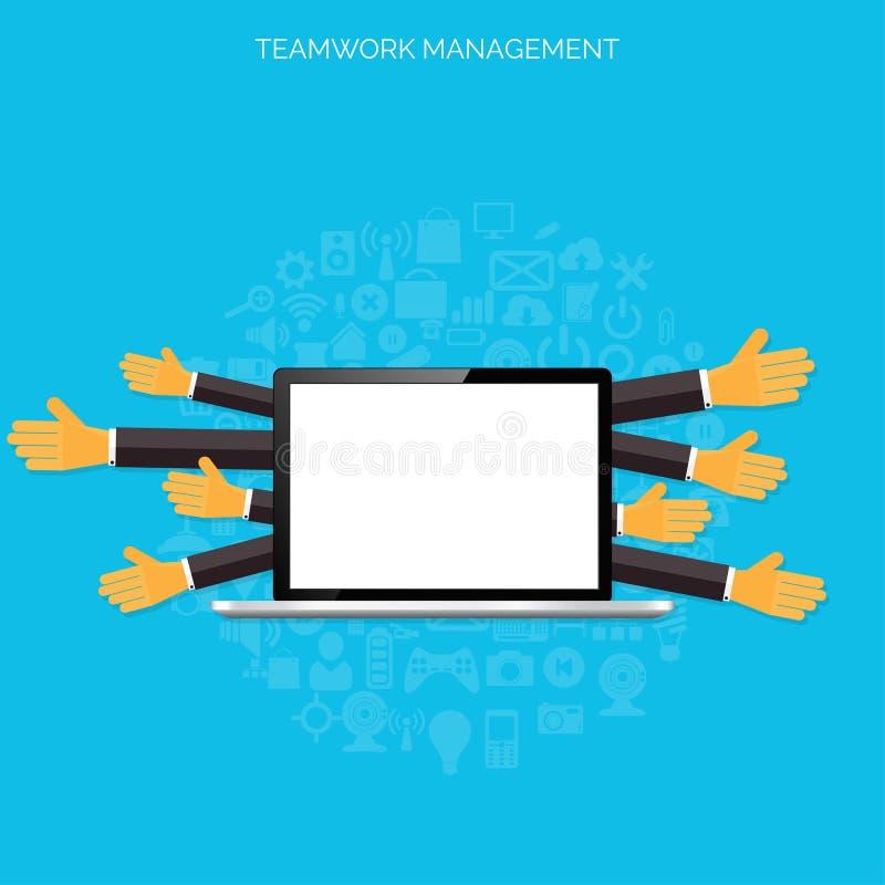 Концепция управления сыгранности Плоские значки Глобальная связь и трудовой стаж Дело, организация брифинга иллюстрация вектора