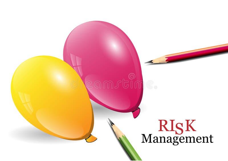 Концепция управление при допущениеи риска, воздушные шары и карандаши, иллюстрация вектора иллюстрация штока