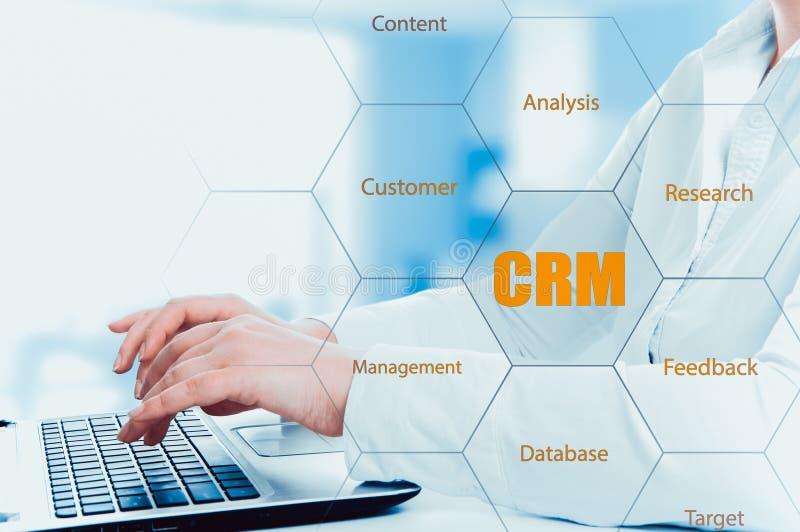Концепция управления отношения дела, технологии, интернета и клиента Бизнесмен отжимая кнопку crm на виртуальных экранах стоковое фото rf