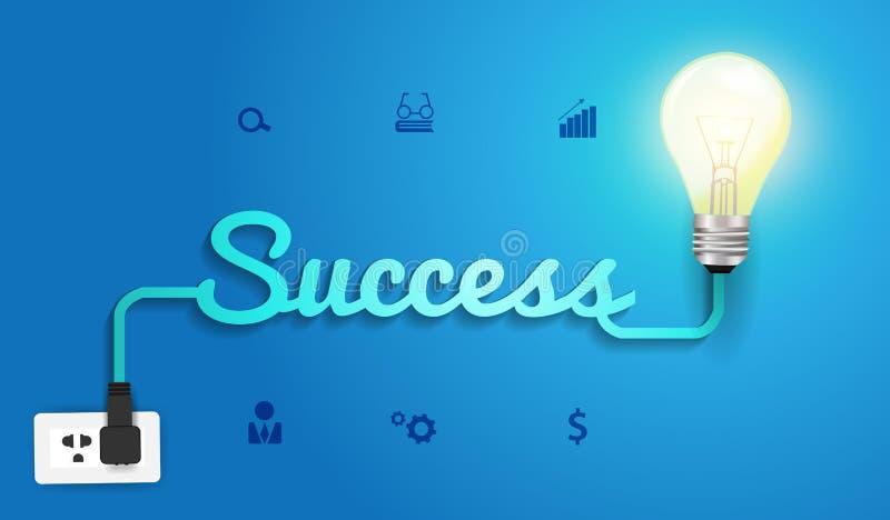Концепция успеха вектора с творческим id электрической лампочки бесплатная иллюстрация
