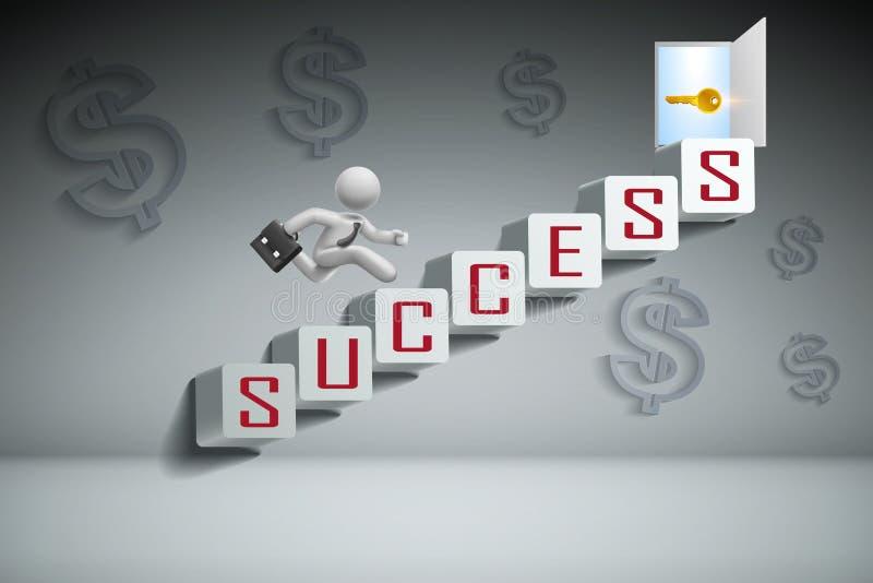 Концепция успеха в бизнесе: Бизнесмен скача на белые лестницы и ход к раскрытой двери na górze лестниц иллюстрация штока