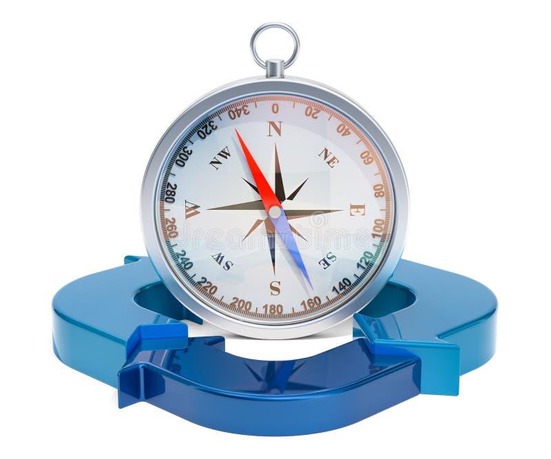 Концепция успеха в бизнесе, компас с голубыми стрелками перевод 3d иллюстрация вектора