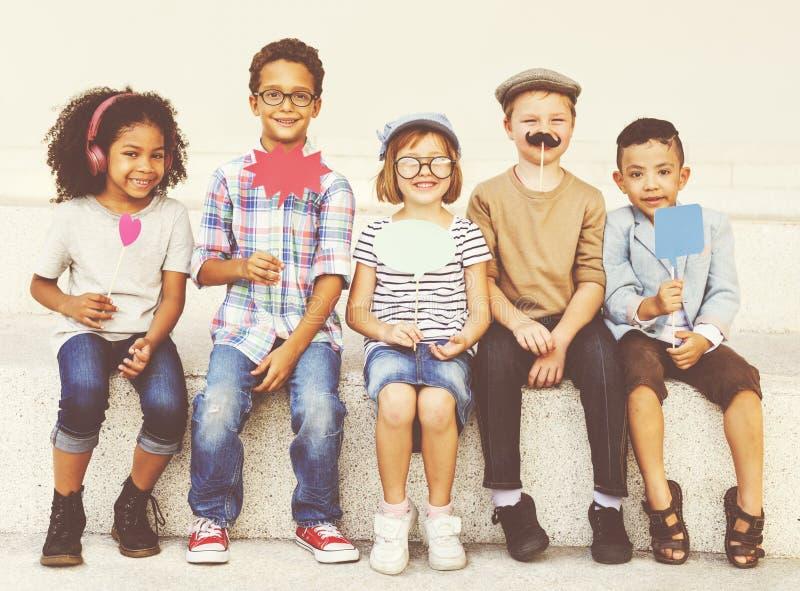 Концепция успеха деятельности при устремленности ребенка детей храбрая стоковое фото rf