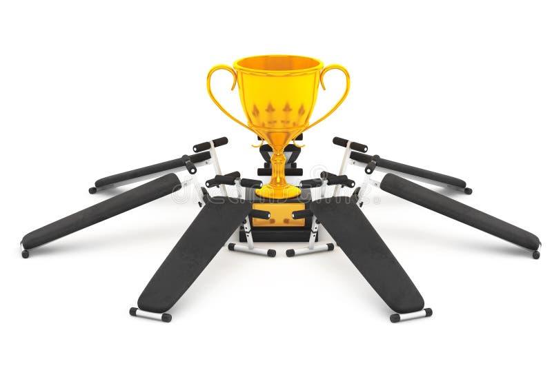 Концепция успеха фитнеса Оборудование стенда спортзала вокруг золотого t иллюстрация штока