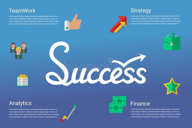 Концепция успеха infographic при нарисованная рука помечающ буквами слово и плоские значки иллюстрация штока