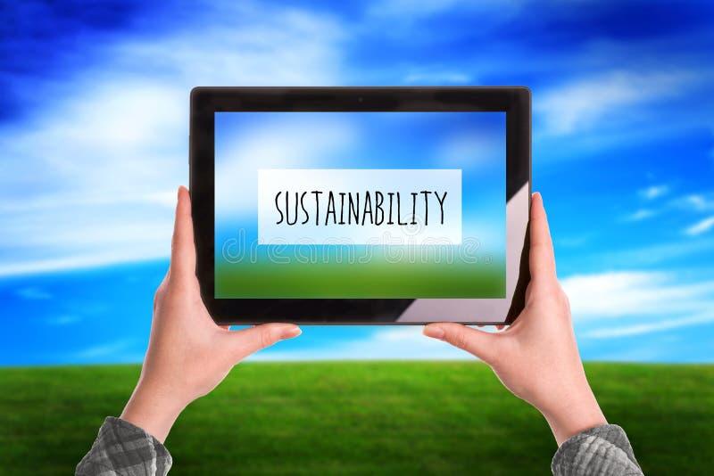 Концепция устойчивости, женщина с планшетом цифров переплюнет стоковое изображение rf