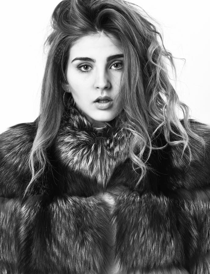 Концепция ухода за волосами Меховая шыба девушки представляя со стилем причесок на белом конце предпосылки вверх Предотвратите по стоковая фотография rf