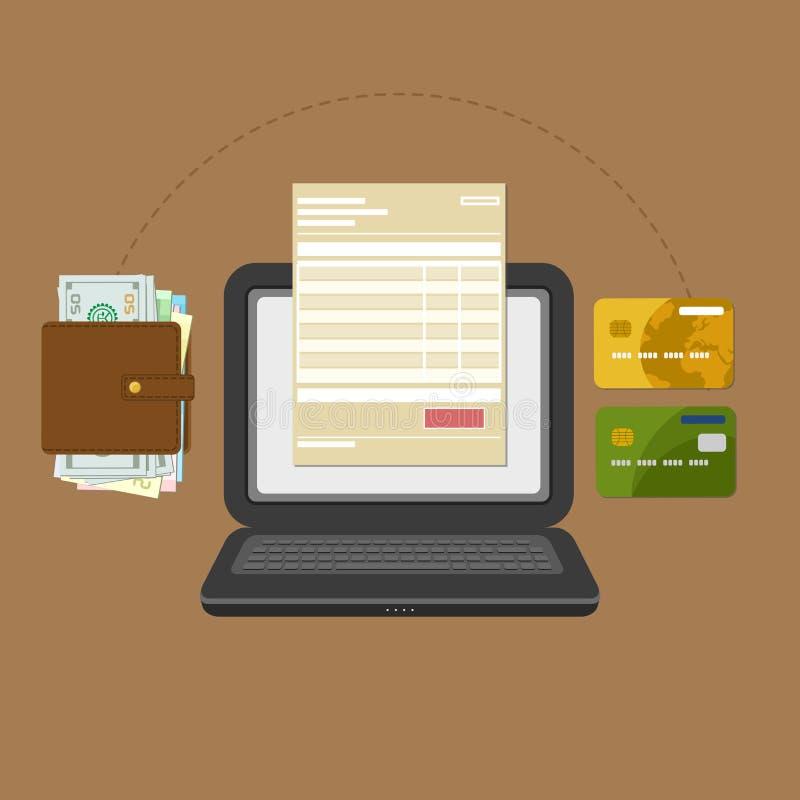 Концепция учета налога счета оплаты онлайн через компьютер или компьтер-книжку иллюстрация вектора