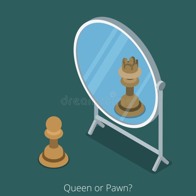 Концепция ферзя или пешки Диаграмма взгляд шахмат пешки в иллюстрация вектора