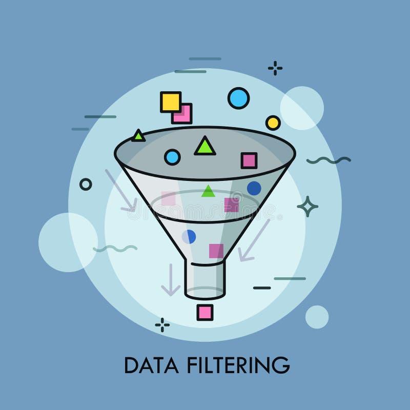 Концепция фильтруя цифровых данных выбора, электронная информации и сортировать иллюстрация вектора