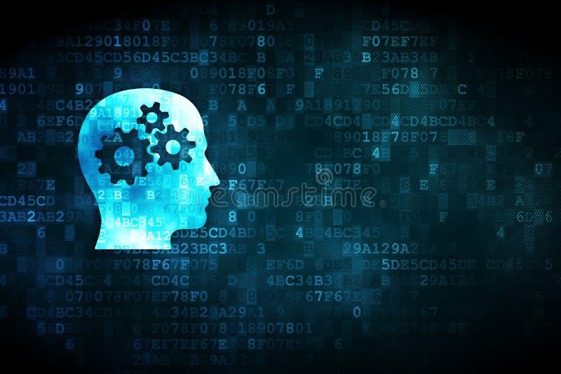 Концепция финансов: Голова с шестернями на цифровой предпосылке иллюстрация штока