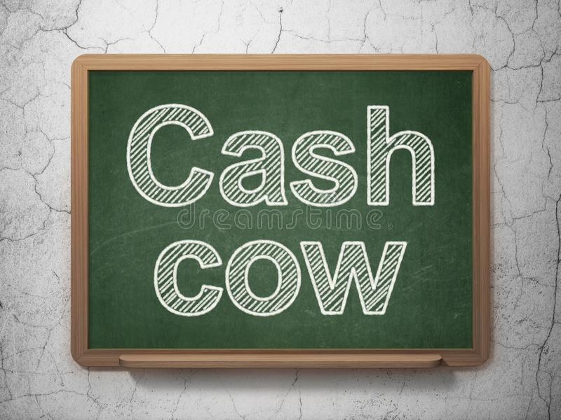Концепция финансов: Дойная корова на предпосылке доски стоковое фото rf