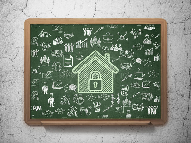 Концепция финансов: Дом на предпосылке школьного правления иллюстрация штока