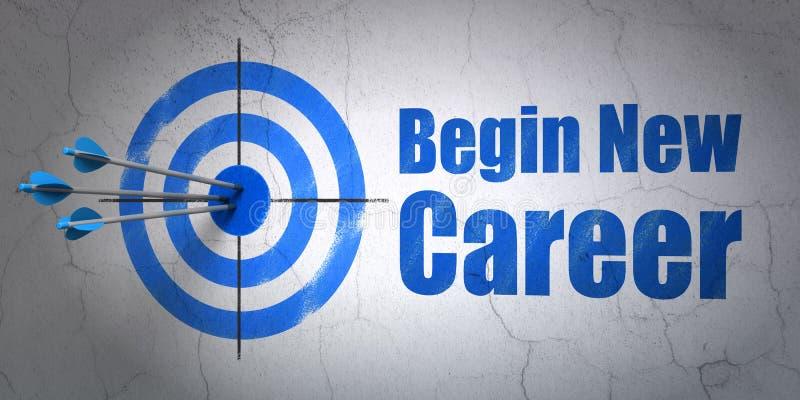 Концепция финансов: прицельтесь и начнитесь новая карьера на предпосылке стены бесплатная иллюстрация