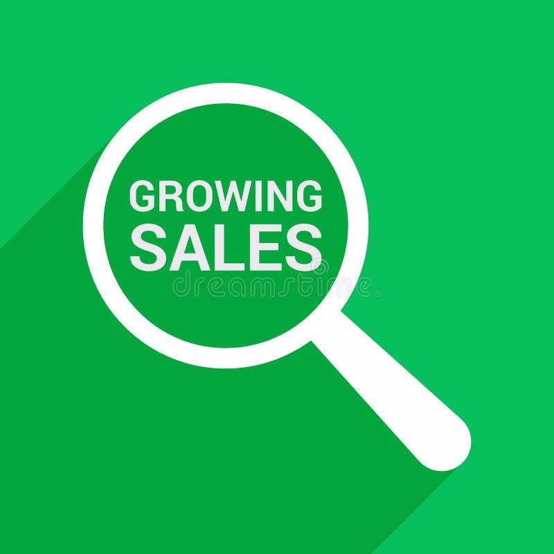 Концепция финансов: Увеличивая оптически стекло при слова растя продажи иллюстрация штока