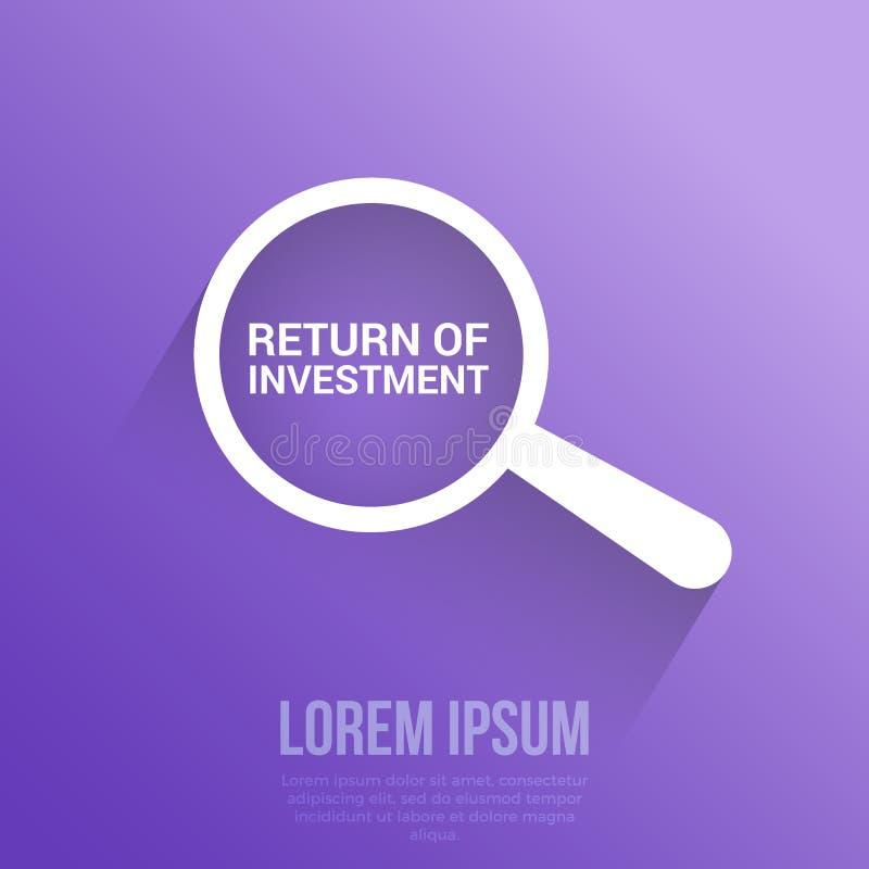 Концепция финансов: Увеличивая оптически стекло с возвращением слов вклада бесплатная иллюстрация