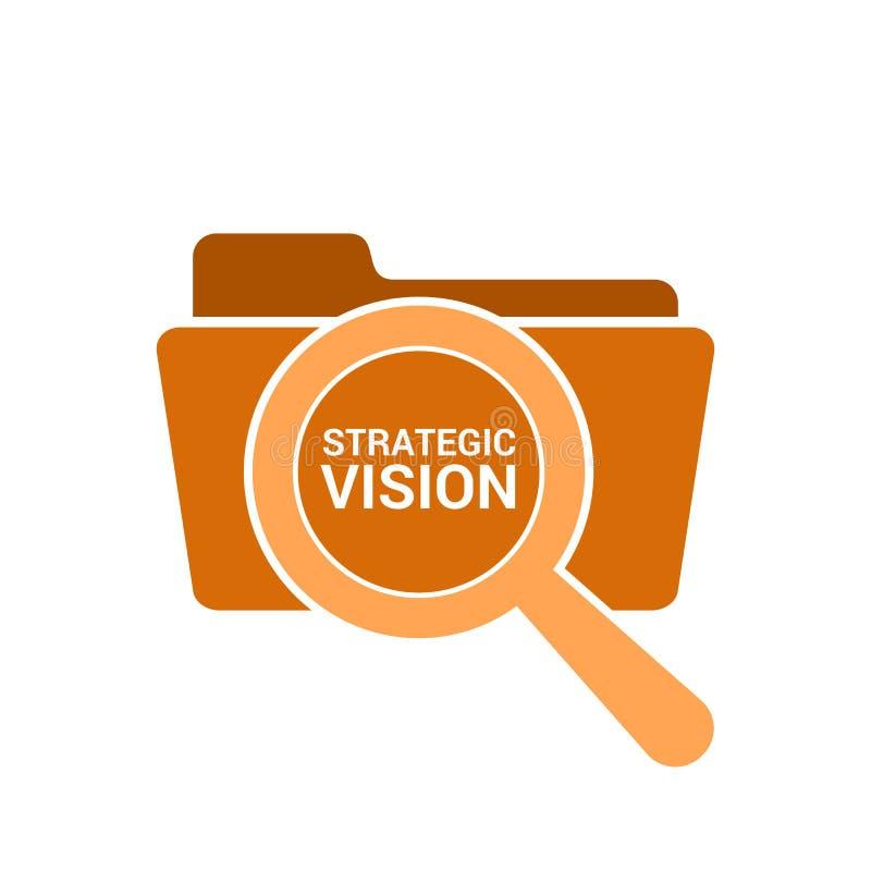Концепция финансов: Увеличивая оптически стекло с зрением слов стратегическим иллюстрация вектора