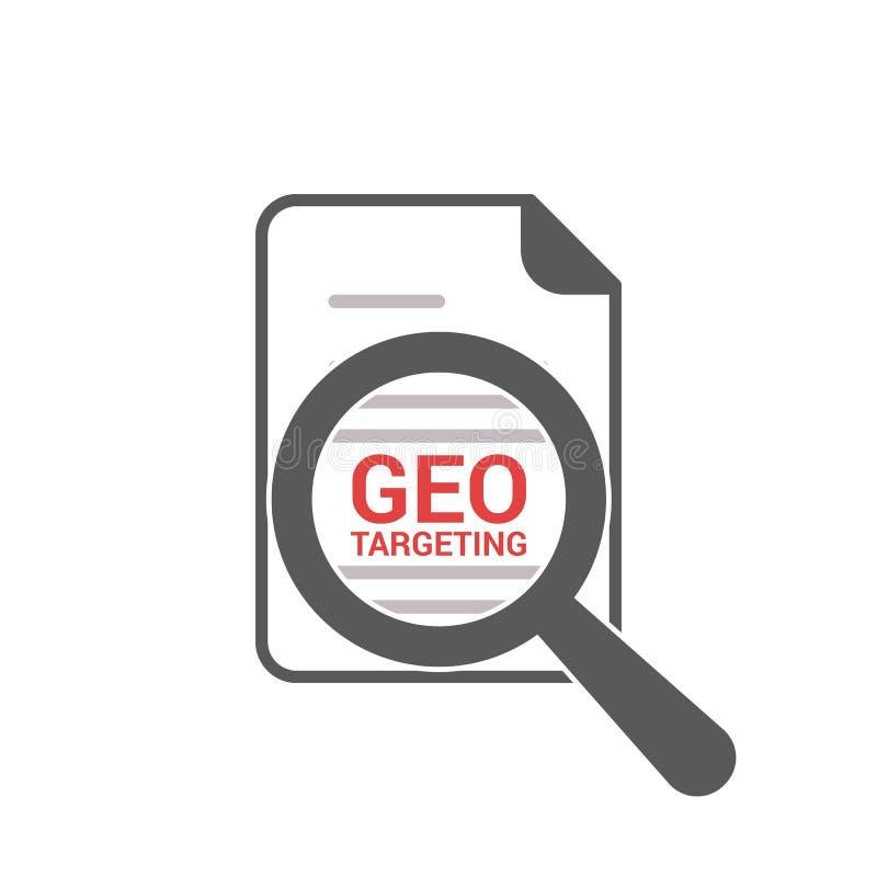 Концепция финансов: Увеличивая оптически стекло с нацеливанием Geo слов иллюстрация вектора