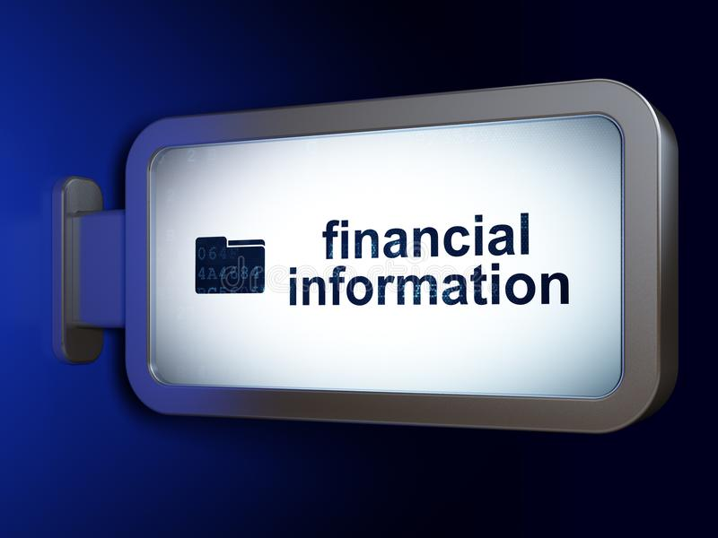 Концепция финансов: Финансовая информация и папка на предпосылке афиши бесплатная иллюстрация