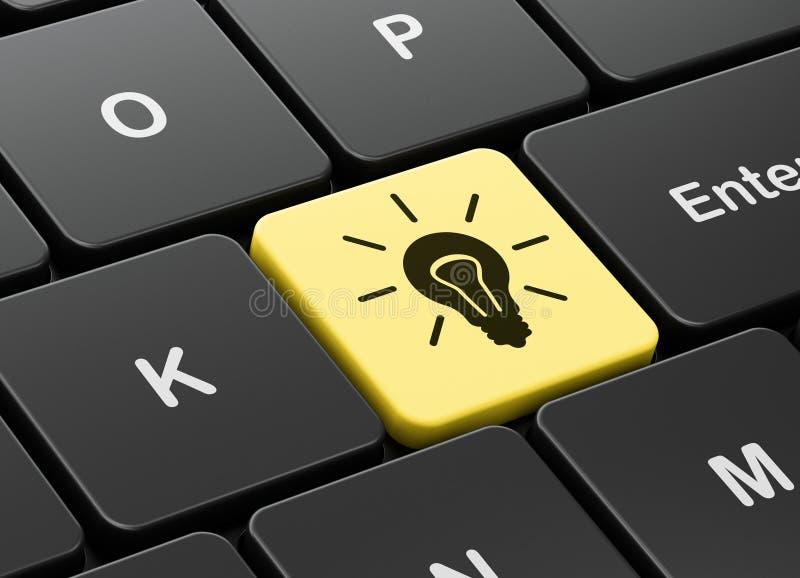 Концепция финансов: Электрическая лампочка на предпосылке клавиатуры компьютера иллюстрация штока