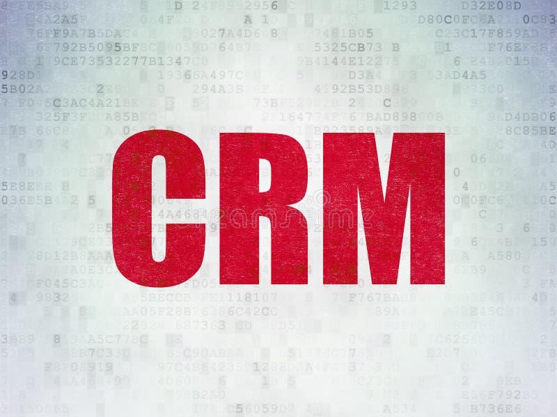 Концепция финансов: CRM на предпосылке бумаги цифровых данных иллюстрация штока