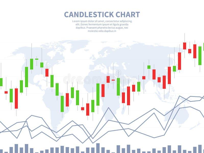 Концепция фондовой биржи Карта мира диаграммы ручки свечи Глобальный финансовый маркетинг, валюта конспекта вклада обменом бесплатная иллюстрация