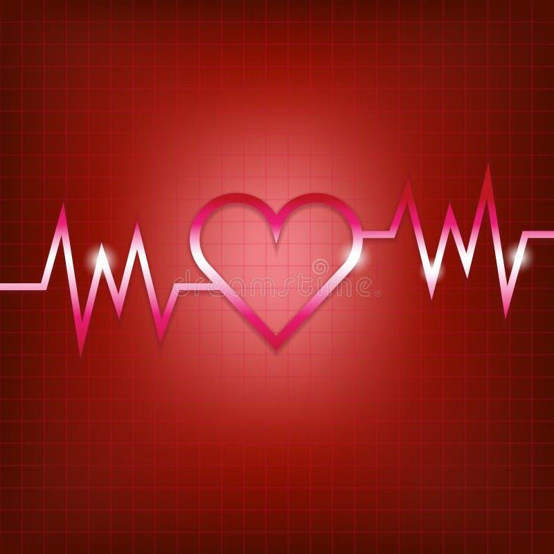 Концепция формы сердца с пульсированием иллюстрация штока