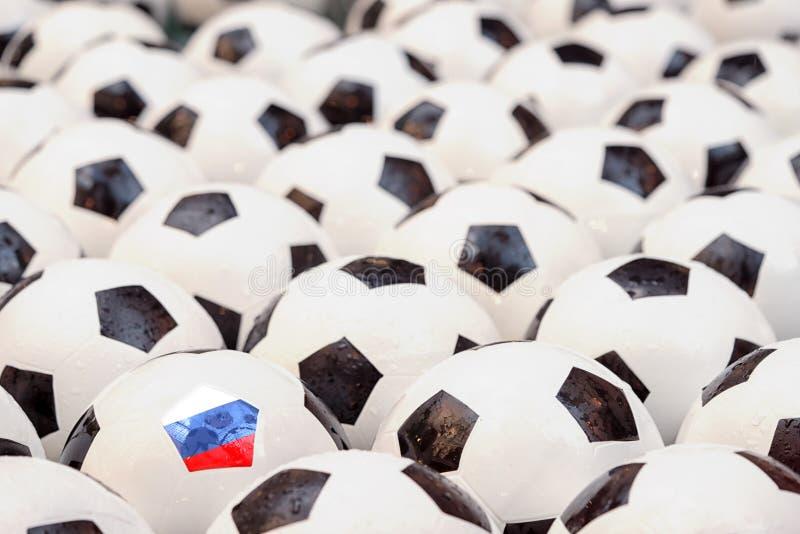 Концепция футбола в России стоковые изображения