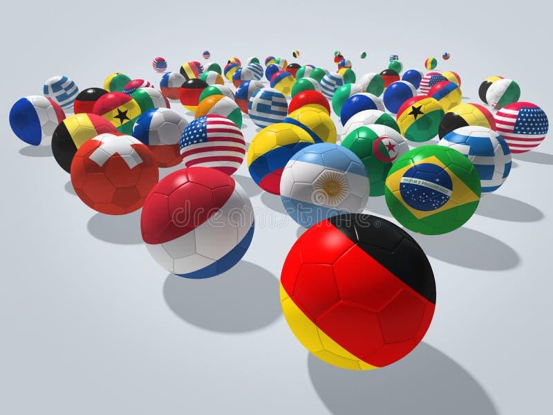 Концепция футбольных мячей иллюстрация вектора