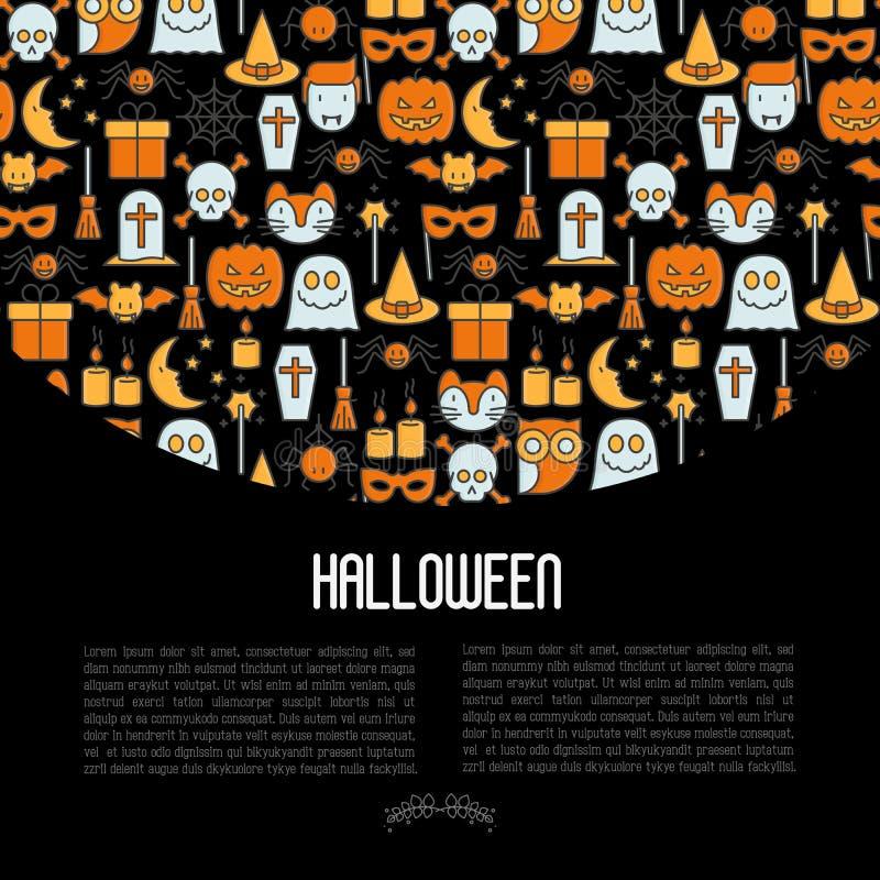 Концепция хеллоуина шаржа с тонкой линией значками бесплатная иллюстрация