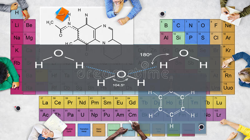 Концепция химии атома эксперименту по формулы стоковые фотографии rf