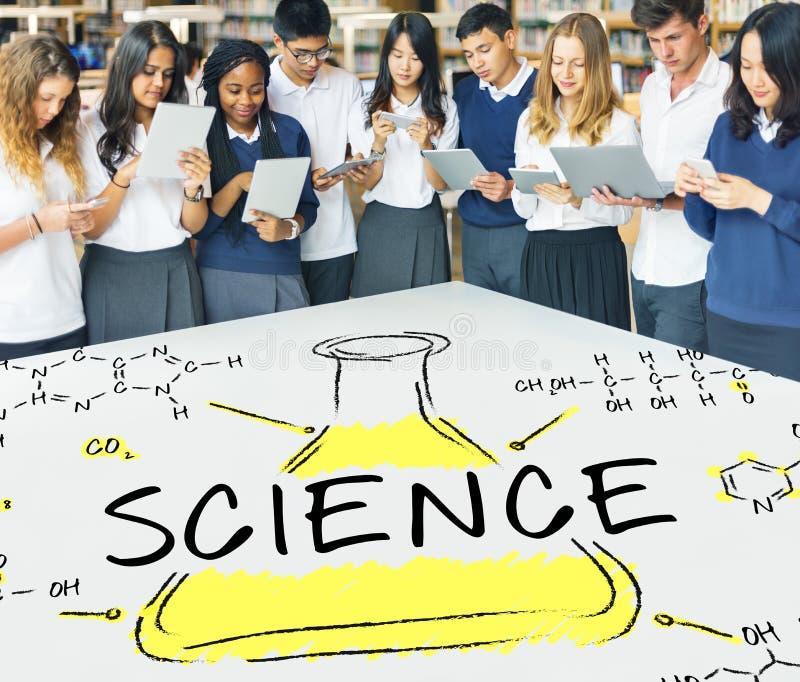 Концепция химиката формулы лаборатории эксперименту по науки стоковое фото