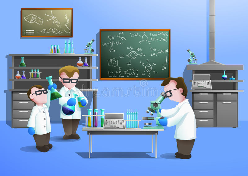 Концепция химической лаборатории иллюстрация штока