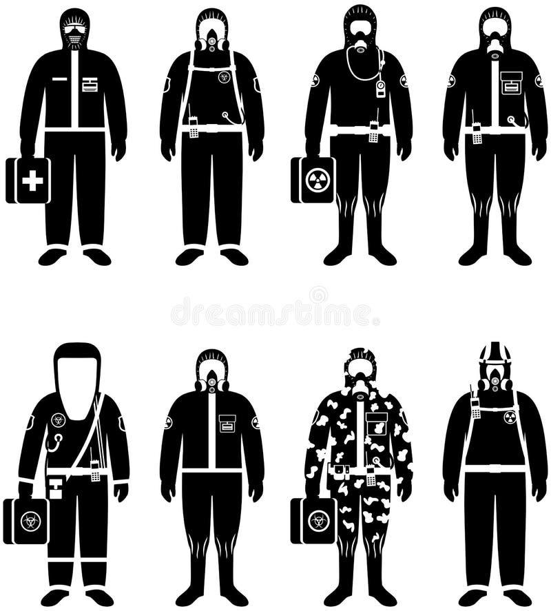 Концепция химической промышленности Комплект различных работников силуэтов в костюмах разниц защитных на белой предпосылке в плос иллюстрация штока