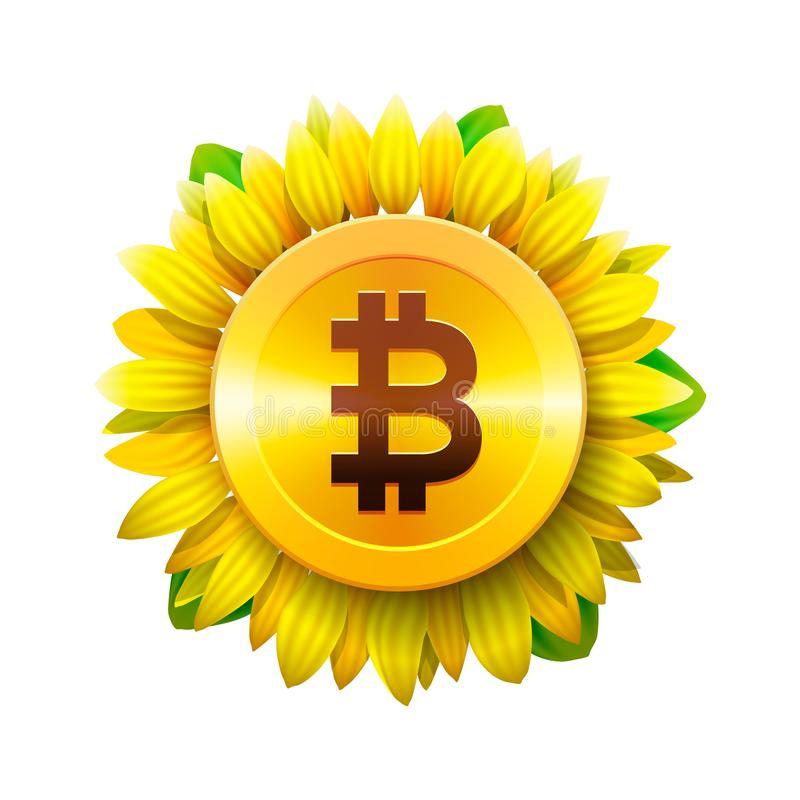 Концепция цветка Bitcoin виртуальных денег для bitcoin и blockchain Значок солнцецвета, концепция дела bitcoin, иллюстрация векто бесплатная иллюстрация
