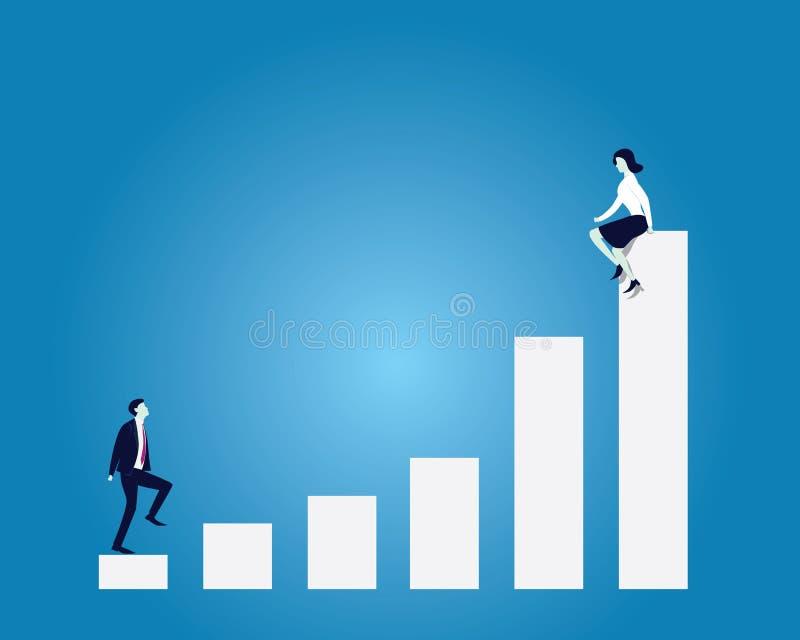 Концепция цели дела Лестница бизнесмена взбираясь достигая Wo иллюстрация вектора