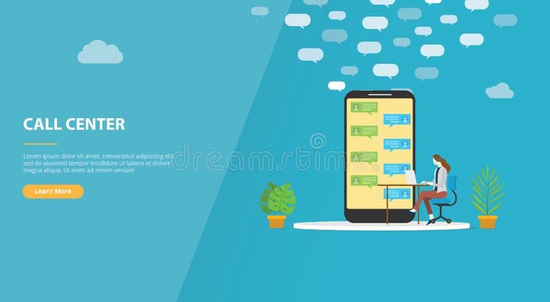 Концепция центра телефонного обслуживания с женщиной на вызывать поддержку для знамени шаблона вебсайта или приземляться домашняя иллюстрация вектора
