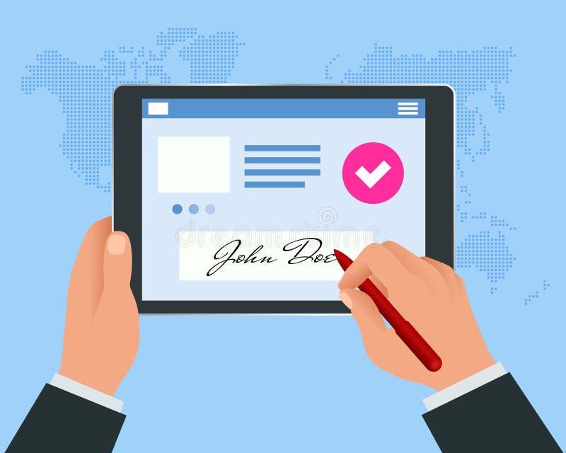 Концепция цифровой подписи с планшетом и ручкой Руки бизнесмена подписывая цифровую подпись на планшете иллюстрация штока