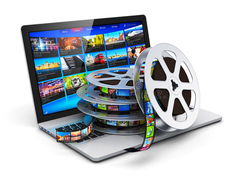 Концепция цифров видео- и передвижная средств массовой информации иллюстрация вектора