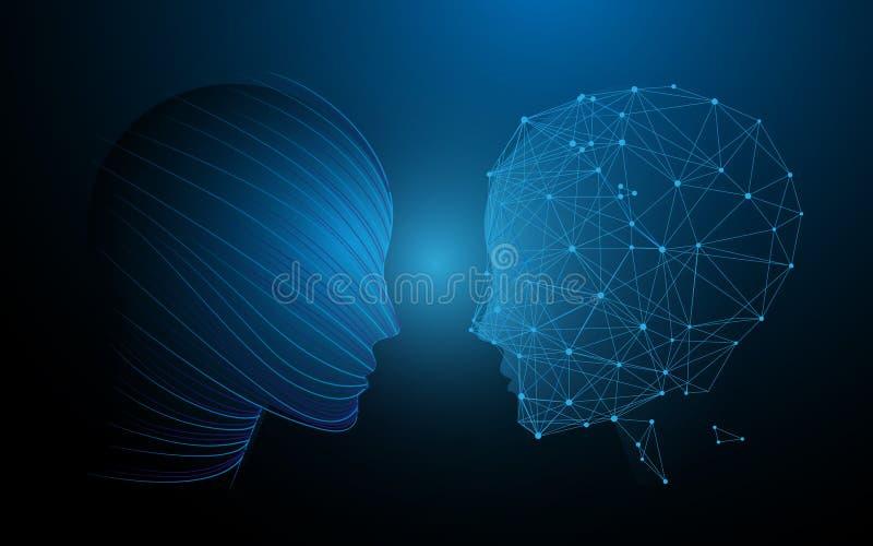 Концепция человеческих голов и функций мозга, аналитически против творческих способностей иллюстрация штока
