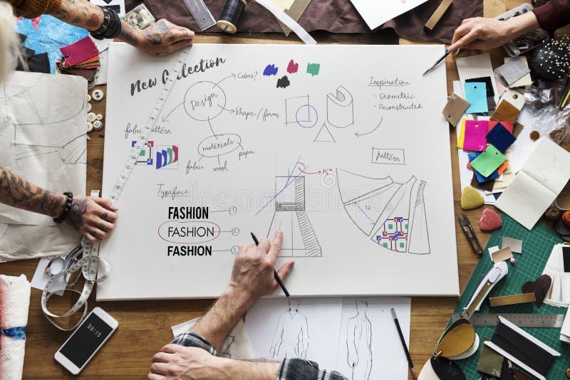 Концепция чертежа дизайна одежды моды стоковое фото rf