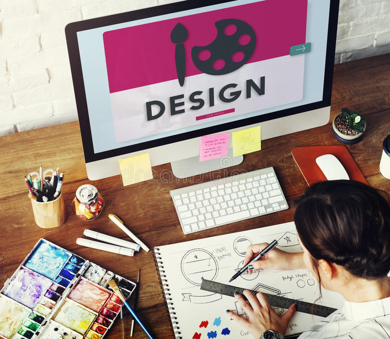 Концепция чертежа краски дизайна творения краски искусства творческая стоковые изображения