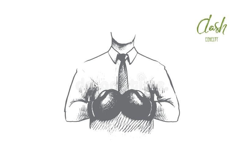 Концепция черточки Вектор нарисованный рукой изолированный иллюстрация вектора